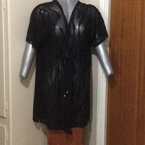 Anne Cole collection black mesh swim cover.